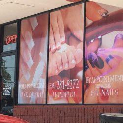 nail salon vinyl window graphics displaying a variety of nail styles
