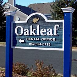 Oakleaf routed sign - blue