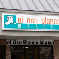 El Oso Blanco cabinet sign - storefront
