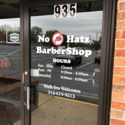 No Hatz BarberShop vinyl window decals