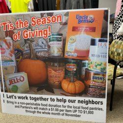 Pantera's Food Donation large format sign on coroplast (corrugated plastic)