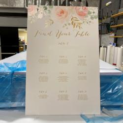 wedding seating sign printed on coroplast (corrugated plastic)