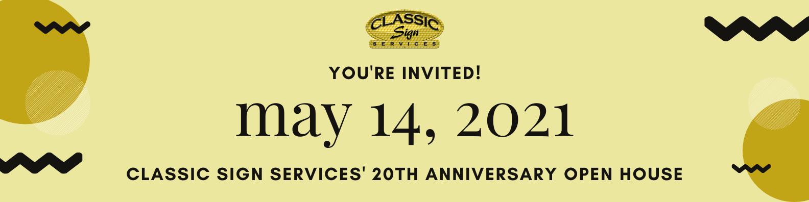 20th anniversary open house invitation