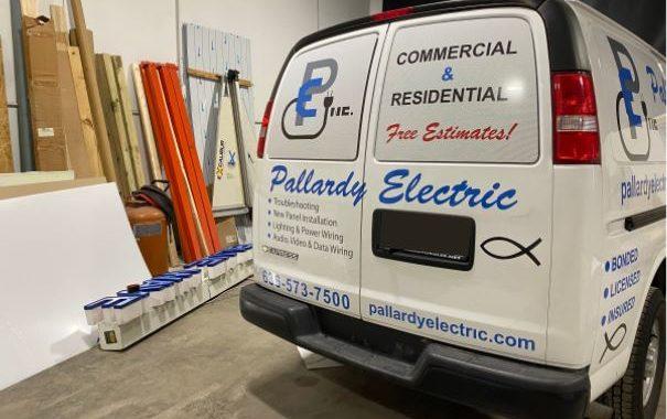Pallardy Electric white van vehicle graphics