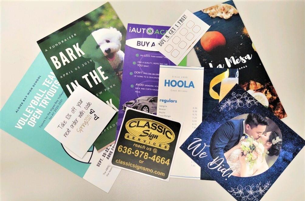 laser printing samples - decals, brochures, cardstock