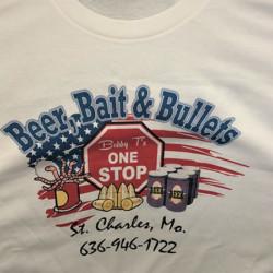 White T-Shirt that has Beer, Bait & Bullets logo
